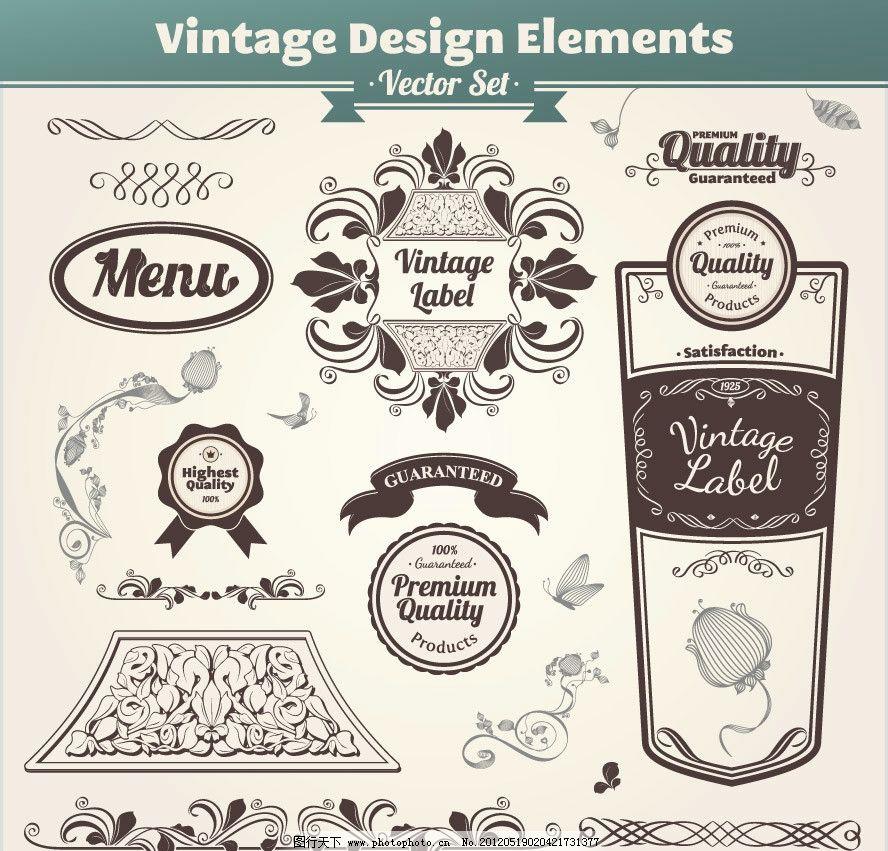 欧式花纹边框标签菜单设计图片