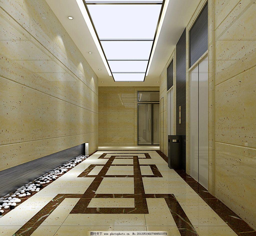 电梯间过廊效果图 电梯 电梯间 过廊 通道 地砖 地砖拼花 理石 理石
