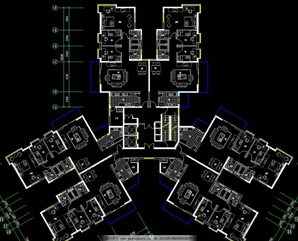 高尔夫别墅 塔式标准层平面图片