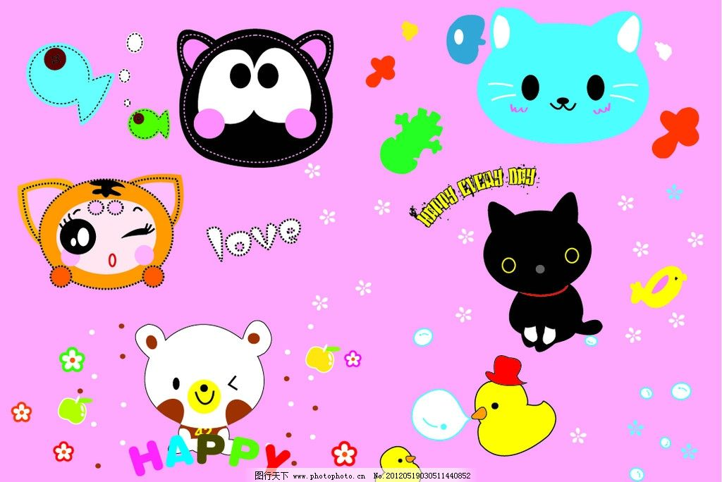 可爱卡通动物 可爱卡通动物矢量猫 小鸭子 轻松熊 小鸟 鱼 奶嘴 章鱼