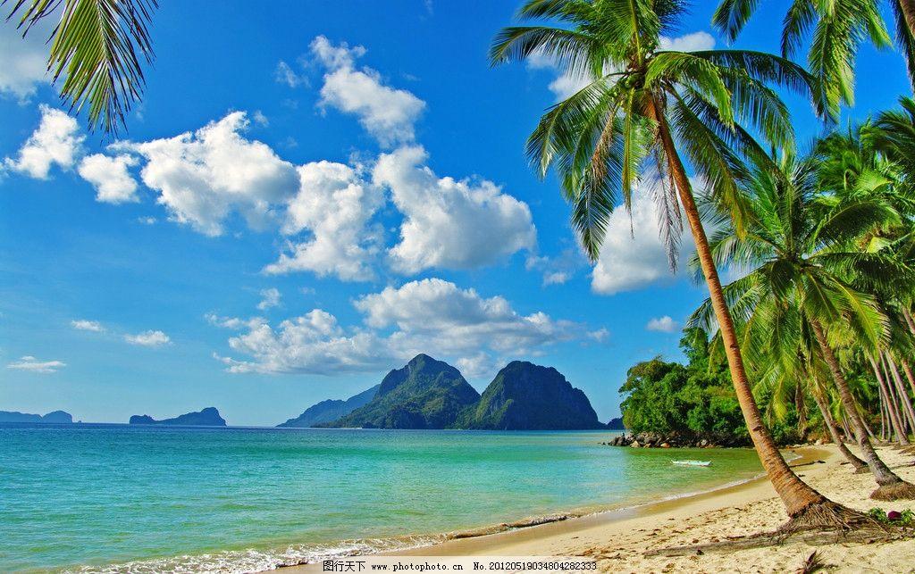 海边椰树 椰子树 树叶 高山 蓝天 白云 蓝天白云 大海 沙滩 海水 热带