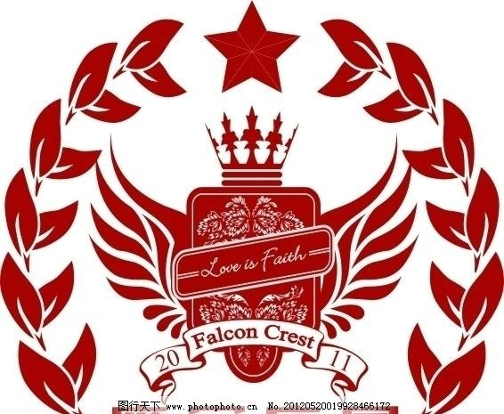 logo 标志 欧式 高贵 红色 庄园 皇冠 标识标志图标 矢量