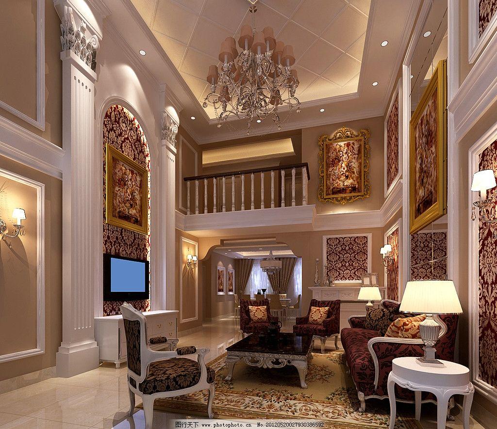 复式客厅效果图 欧式室内效果图 沙发 台灯 吊灯 电视