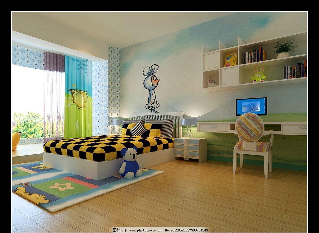 儿童房 小孩房 墙绘 阳台窗 木地板