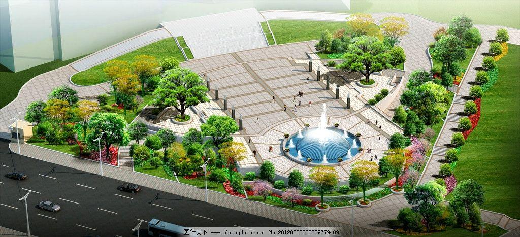 广场景观设计鸟瞰效果图图片