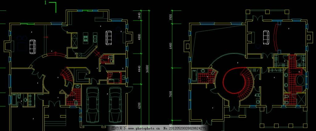 别墅一二层平面 图纸 装修 装饰 施工图 立面图 剖面图 室内设计