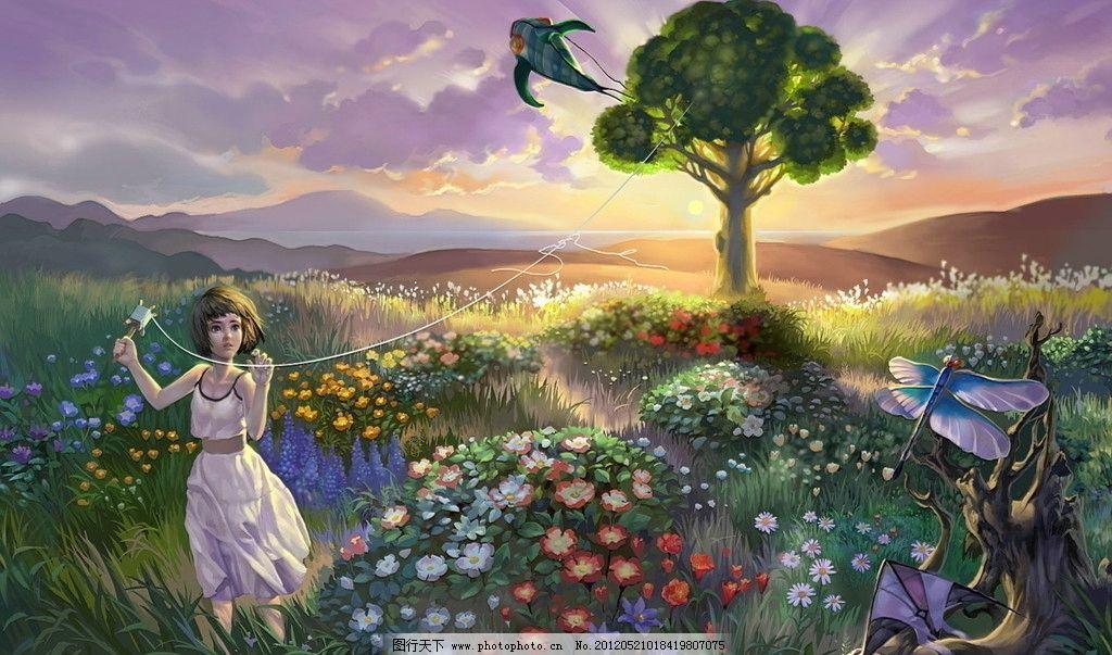 设计图库 动漫卡通 风景漫画  唯美壁纸 女孩 树 风筝 田野 花 花海