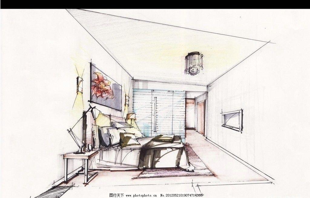 马克笔手绘卧室单体