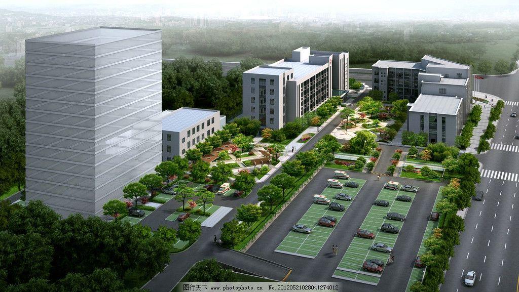 建筑楼房草坪俯视图 建筑