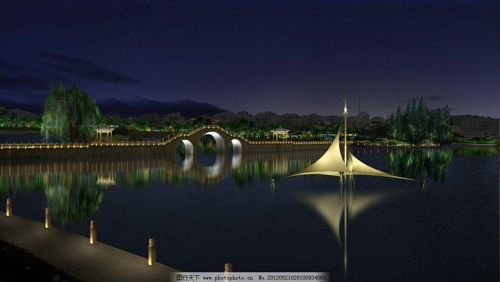 照明 亮化 杨树 松树 樱花树 亮化效果图 led效果图 照明效果图 夜景