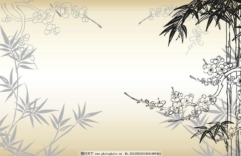 水墨画 梅兰竹菊 水墨梅花 水墨菊花 无框画 树枝 树叶 抽象画