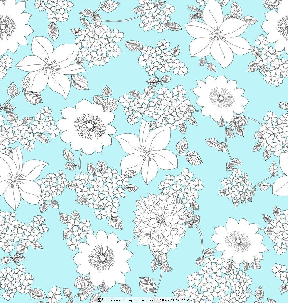 线条花纹 花形 蓝色布底 白色花型 家居服图案 睡衣图案 印花厂图案