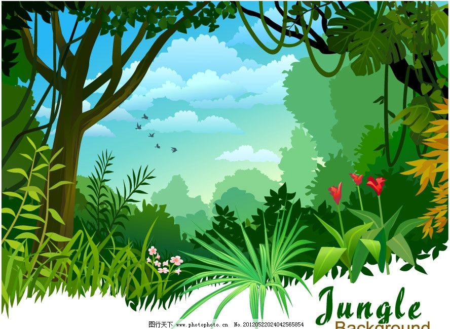 蓝天白云草地树林 卡通 树林 草地 野花 蓝天 白云 风景 风光 手绘