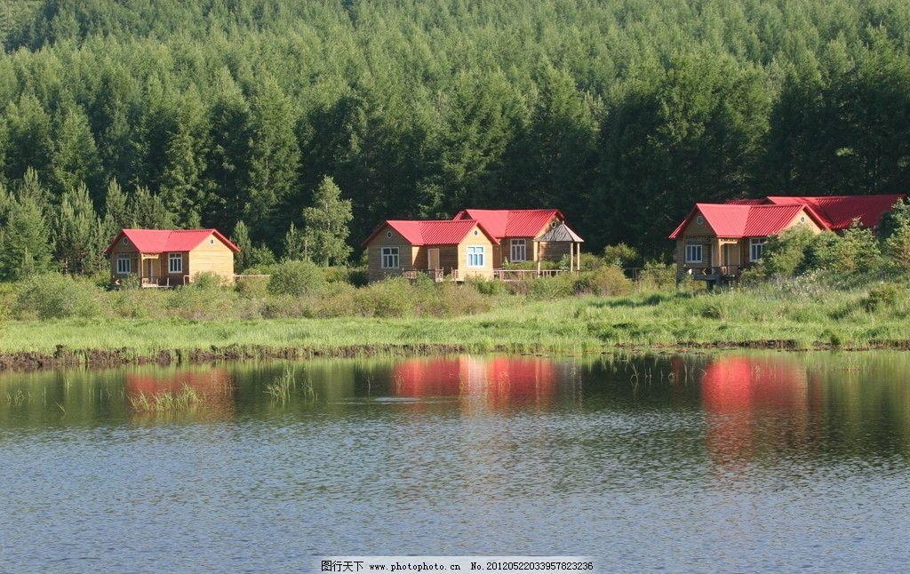 森林木屋图片
