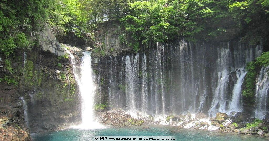 富士山下小瀑布 瀑布 水清 绿潭 跌水 山水风景 自然景观 摄影 180dpi