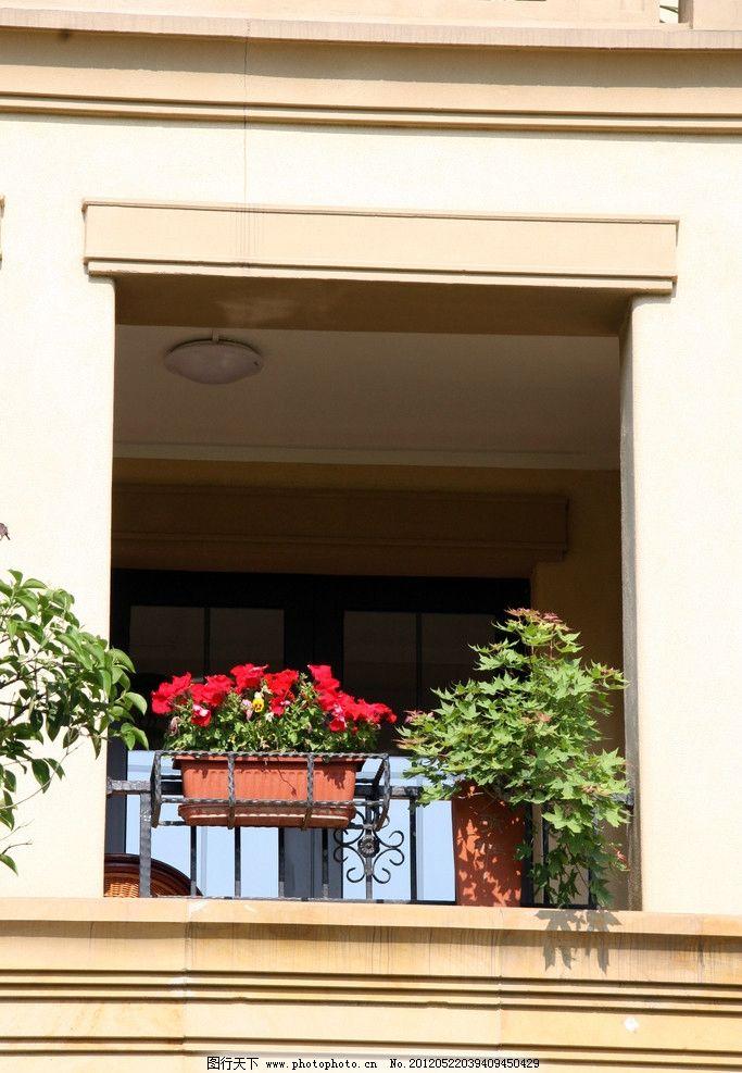欧式建筑 花卉 绿植 窗户