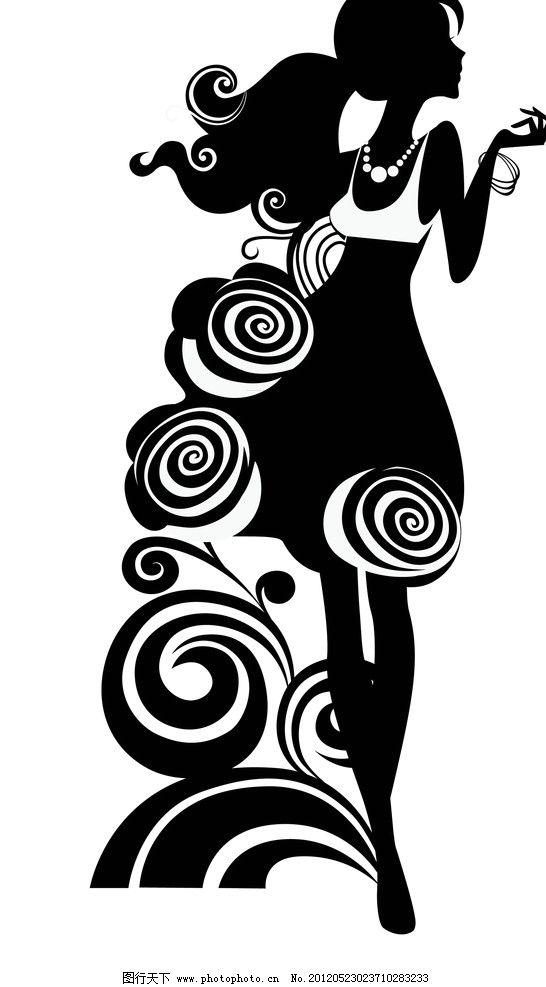 手绘时尚黑白美女图片