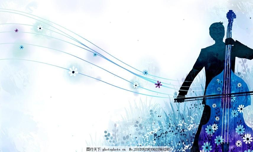 手绘图 音乐 艺术 手绘插画 人物剪影 艺术家 大提琴 蓝色背景 五线谱