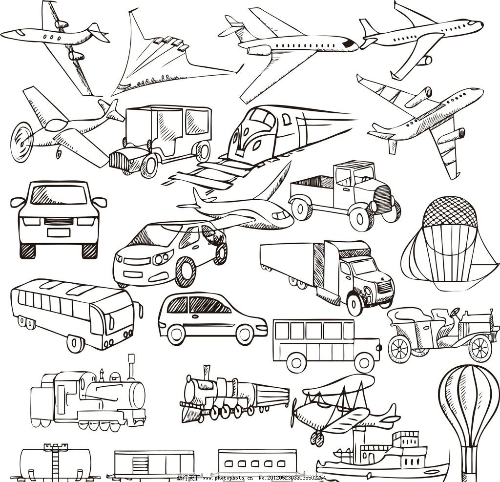 手绘可爱交通工具 手绘 可爱 卡通 交通工具 飞机 汽车 气球 货车
