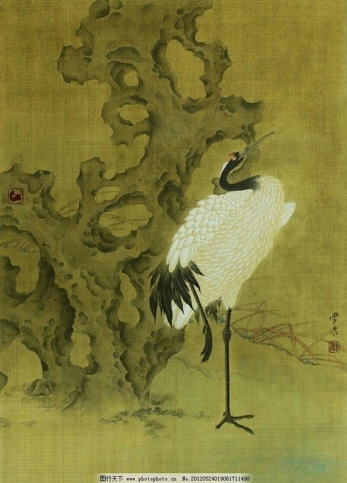 仙鹤 鸟 太湖石 石头 仿古画 古典小品 国画 花鸟画 工笔花鸟