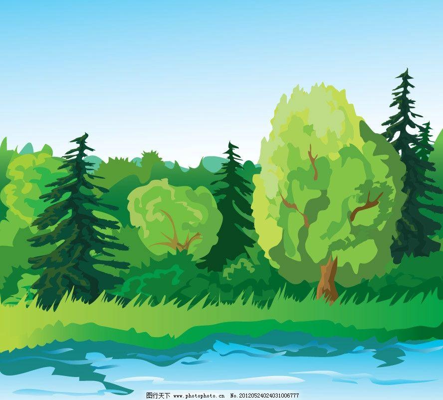 卡通绿树湖水图片