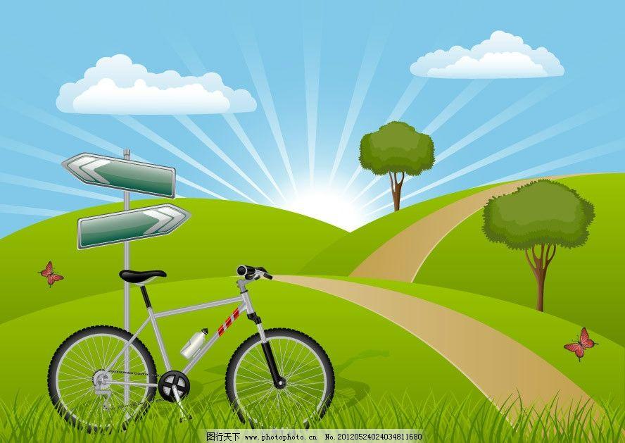 蓝天白云草地自行车 春天背景图片