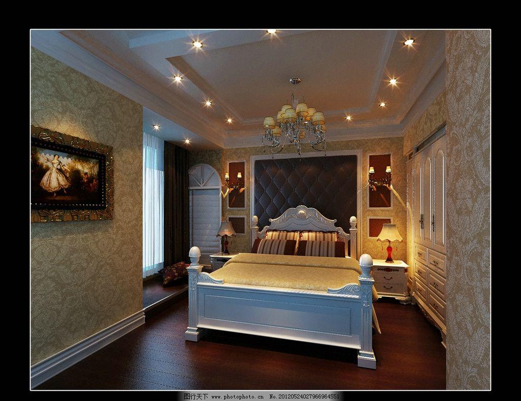 欧式卧室 欧式室内设计 欧式卧室效果图 床 台灯 柜子 室内设计