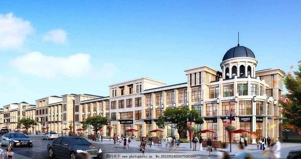 欧式建筑 别墅 大院 建筑 房地产 房产        景观 规划 俯视 立面