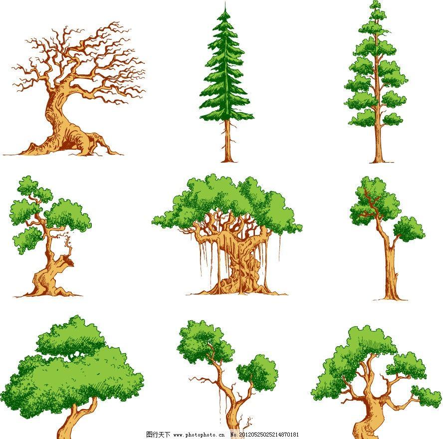 树木 绿树 万年青 花纹树 树花纹 手绘 植物 矢量 植物主题 树木树叶图片