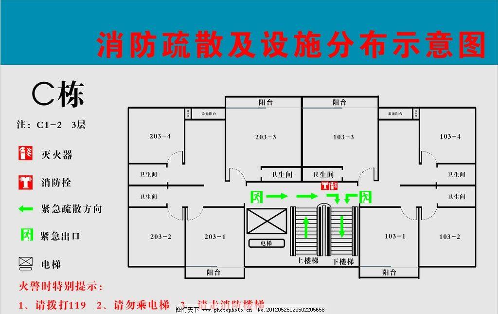 消防示意图 平面图 楼层紧急通道 广告设计 矢量 cdr