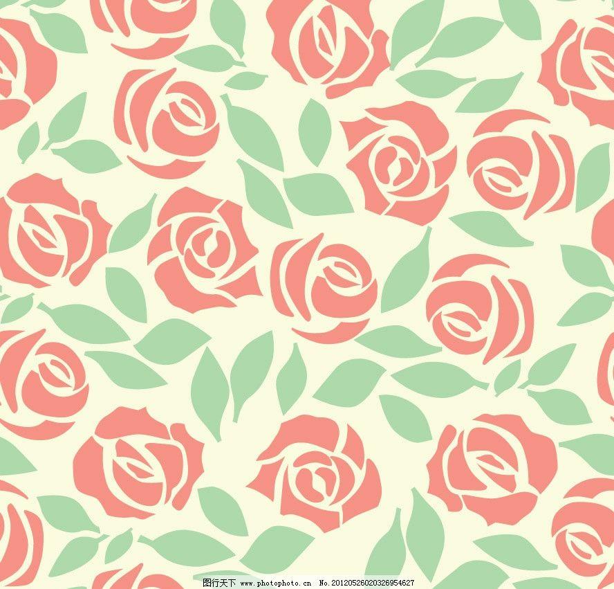 玫瑰 时尚 潮流 梦幻 花纹 花朵 卡片 花卉 时尚花纹 梦幻花纹 手绘