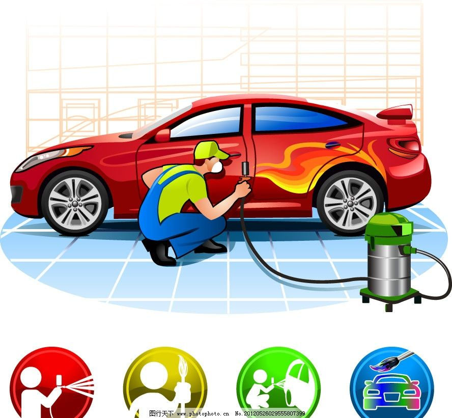 卡通汽车服务站图片_设计案例_广告设计_图行天下图库