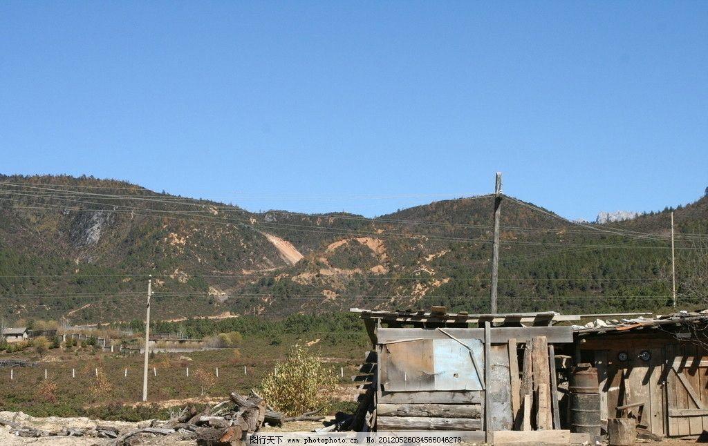 秋天风景 小屋 电线杆 远山 蓝天 屋顶 乡村小景 自然风景 旅游摄影