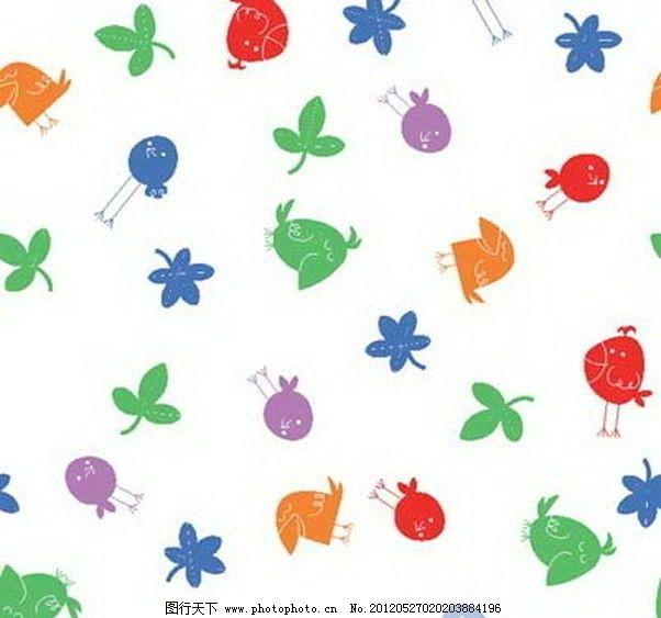 矢量 填充 卡通 图形 印花 动物 小鸟 碎花 背景 图案 花纹 纹理 肌理