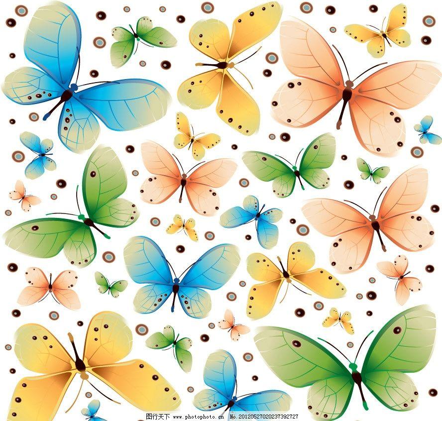梦幻蝴蝶花纹背景图片