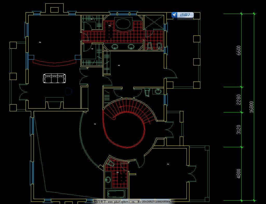 单体别墅二层平面 图纸 装修 装饰 施工图 立面图 剖面图 室内设计