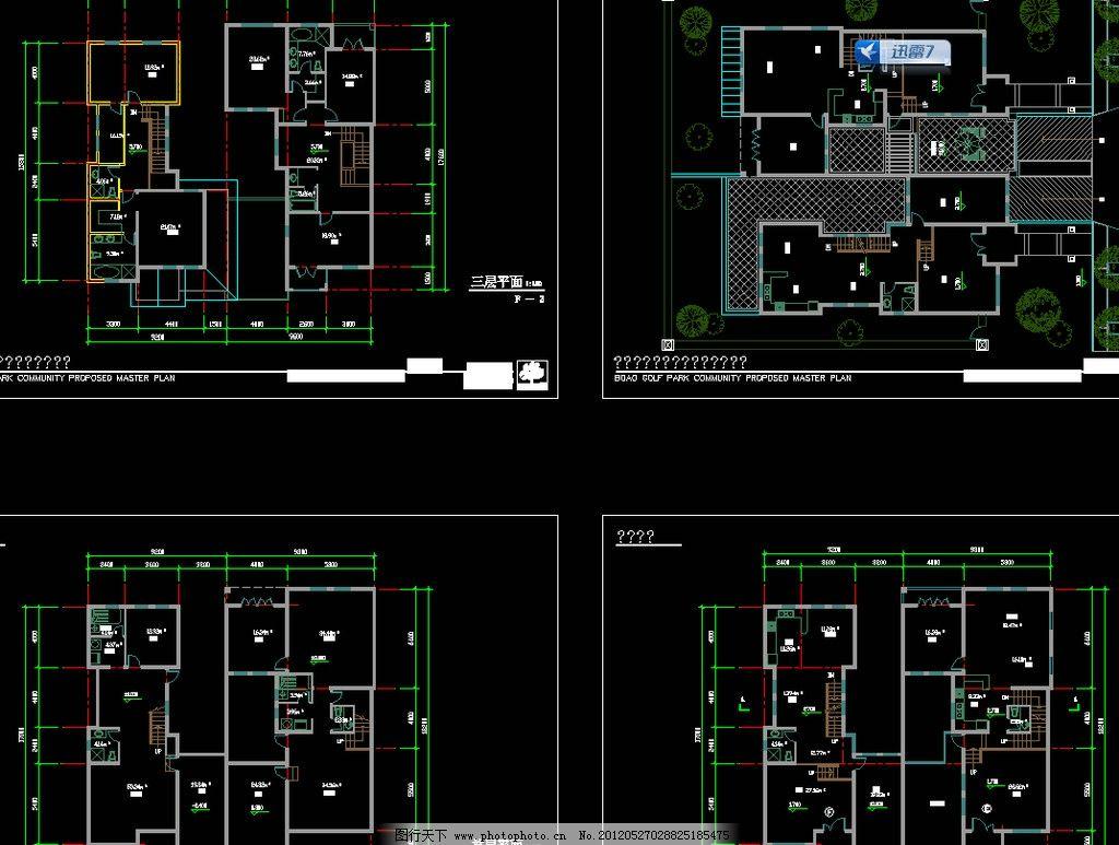 单体别墅全图 图纸 平面图 装修 装饰 施工图 立面图 剖面图