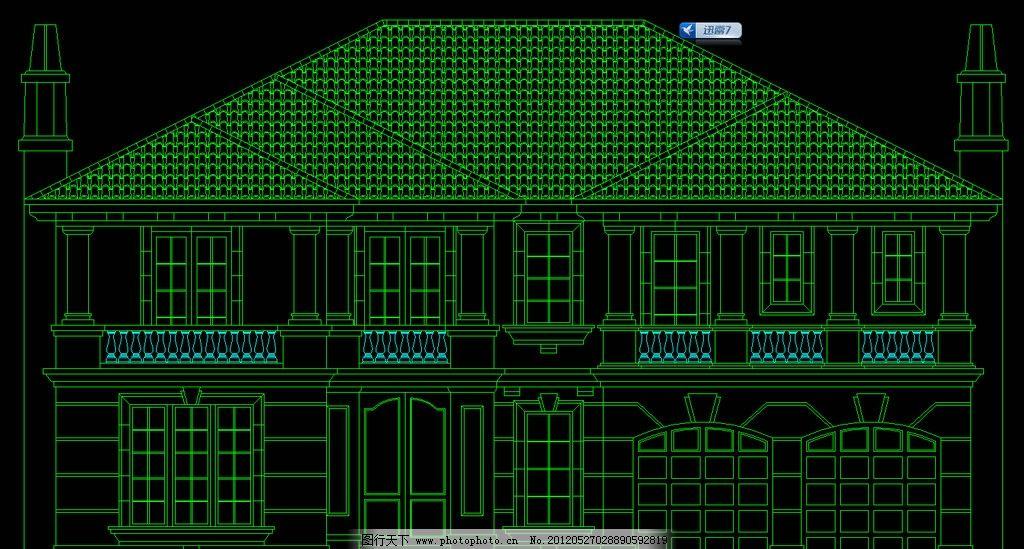 单体别墅立面 图纸 平面图 装修 装饰 施工图 剖面图 室内设计
