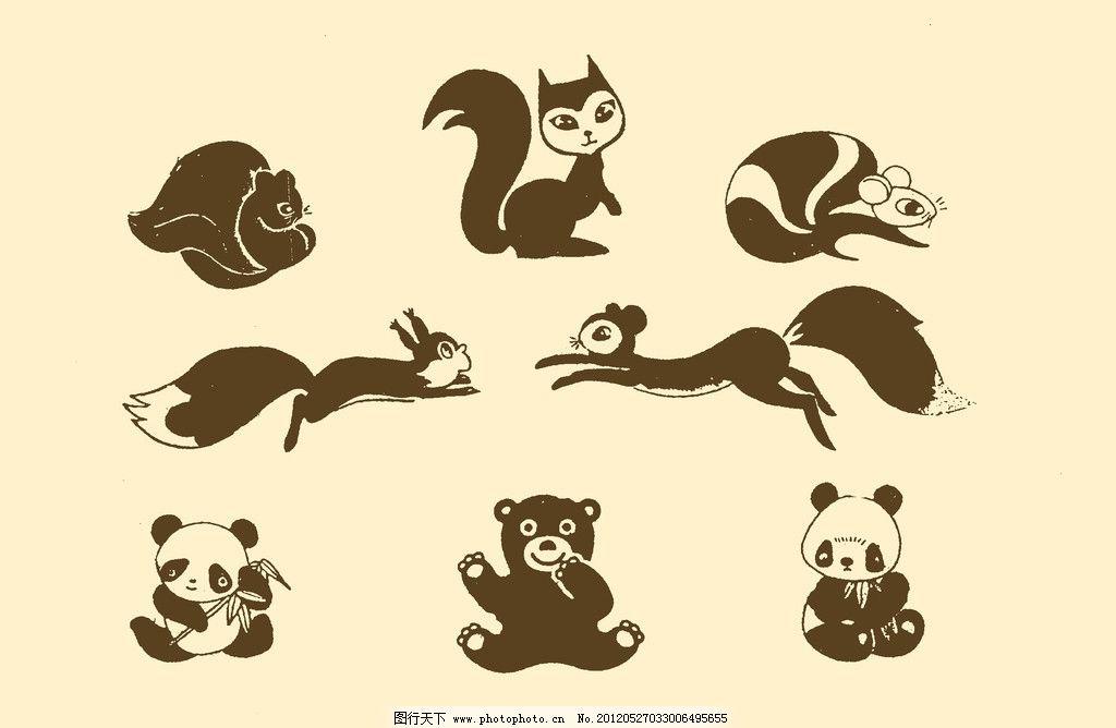 插图 版画 简笔画 风光 装饰画 儿童画 线条 手绘 幼儿 松鼠 熊猫