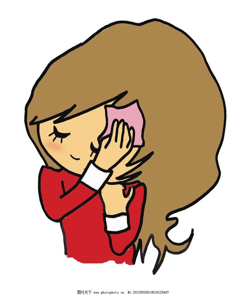 唯美女孩 受伤女孩 可爱卡通图
