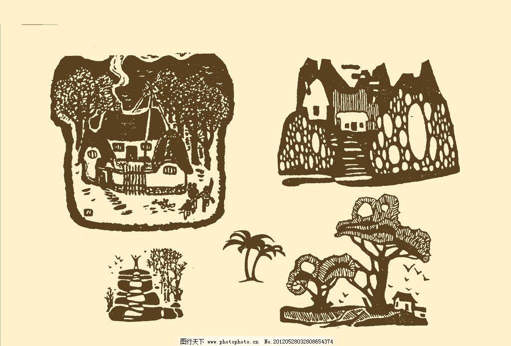风景装饰画 图案 风景 插画 插图 版画 简笔画 风光 装饰画 黑板报