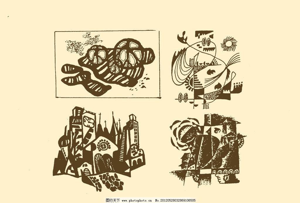 风景装饰画 图案 风景 插画 插图 版画 简笔画 风光 装饰画 黑板报 平
