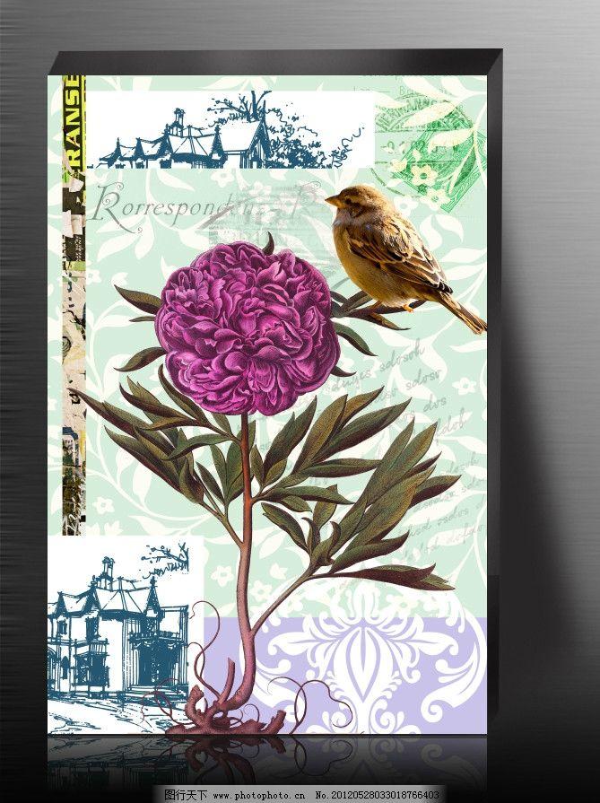 唯美花朵 欧美风格 花朵 小鸟 花藤 建筑 皇冠 手绘 装饰画 无框画 沷