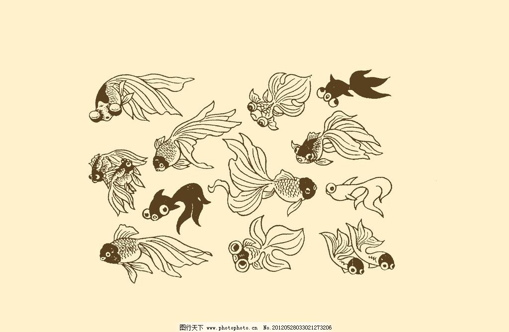 插图 版画 简笔画 风光 装饰画 儿童画 线条 手绘 幼儿 鱼 金鱼 psd