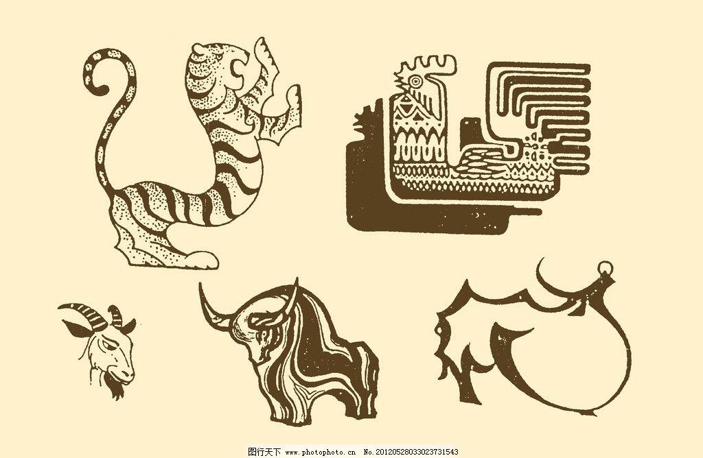 插图 版画 简笔画 风光 装饰画 儿童画 线条 手绘 幼儿 虎牛 psd分层