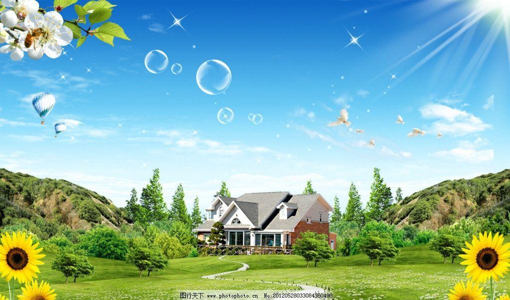 蓝天白云 蓝天草地 自然风景 绿色 大自然 草地 草 树 树木 树叶 森林