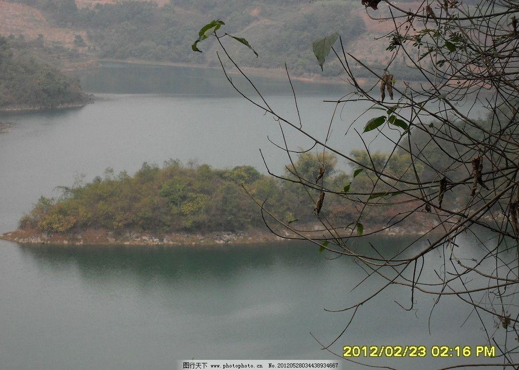 那音水库 广西 百色 田阳 小岛 山水风景 自然景观 摄影 96dpi jpg