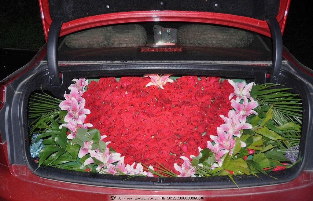 爱心鲜花车 求婚 玫瑰 车展 摄影
