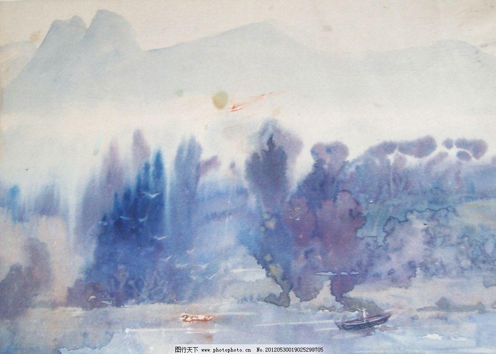 水墨树木植物水彩画作品图片