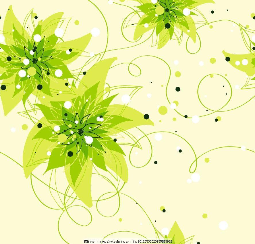 设计图库 底纹边框 背景底纹  绿树梦幻花纹花朵 可爱 欧式 古典 花纹